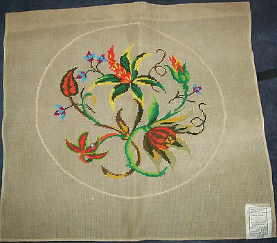 Madeira Portugal Circular Wool Embroidery On Cotton Canvas 57X57Cm