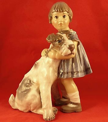 Dahl Jensen Old Denmark porcelain girl fox terrier dog