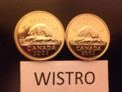 ^^ 2003 ^^ - 5 Cent - Canadian Nickels - Two different Varieties