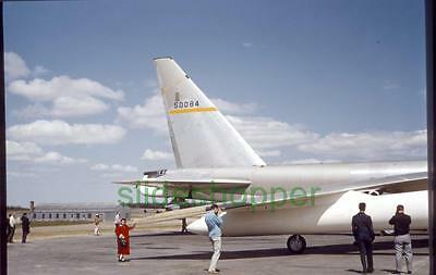 Slide Photo View of Boeing B-52 Stratofortress Tail and Little Girl in 1960s