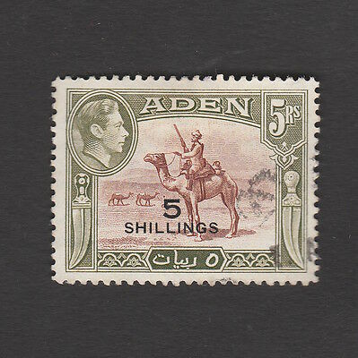 Aden 1951 Five Shillings Surcharge On Five Rupees Camel Stamp S.g. 45