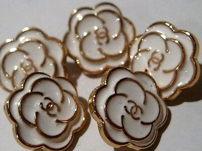 Set Of 5 Replacement Chanel White Enamel Gold Metal Buttons , 13 Mm
