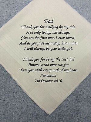 NEW - Father of the Bride Wedding Hankie EMBROIDERED MESSAGE personalised gift