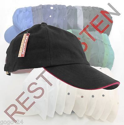 1 St. Result® Heavy Brushed Cotton RC24P Schwarz/Rot Sandwich Basecap Restposten