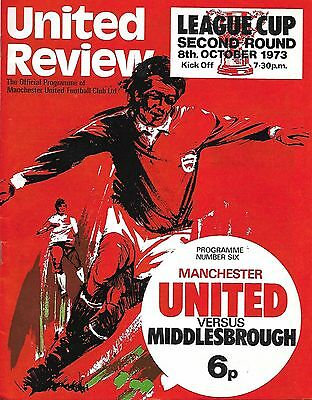 MANCHESTER UNITED v MIDDLESBROUGH League Cup 2nd Round 1973/74 WITH TOKEN