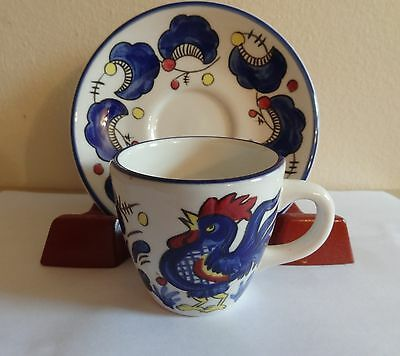 Buffalo China Rooster Pattern Espresso Cup & Saucer