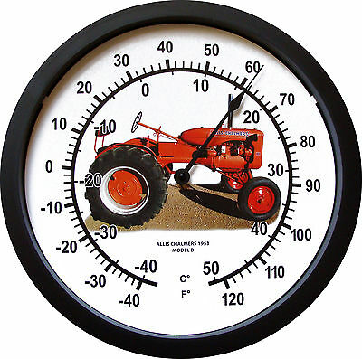 """New Vintage 1953 ALLIS CHALMERS Model B Tractor Thermometer MASSIVE 14"""" Round"""