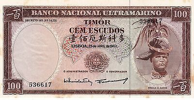 Unc Timor 100 Escudos 1963, More Than 1 Pcs Running Numbers