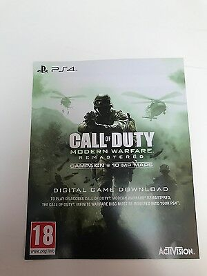 Call of Duty Modern Warfare Remastered Code, PS4 (Please Read Description)