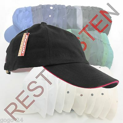 3 St. Result® Heavy Brushed Cotton RC24P Schwarz/Rot Sandwich Basecap Restposten