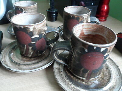 Studio Pottery Briglin Cups and Saucers Set of Four, Sunflower Pattern