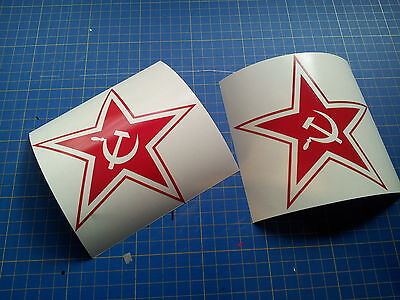 decals 2 PACK RUSSIAN STAR communist Russia stickers 5 inch