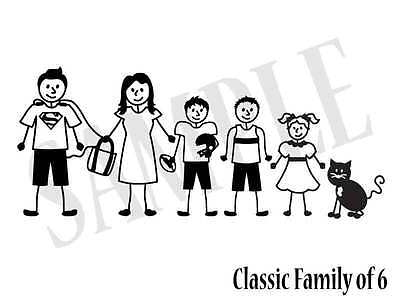 Custom STICK FAMILY of 6 WINDOW CAR DECAL STICKER set of 6 Quality Vinyl Decal