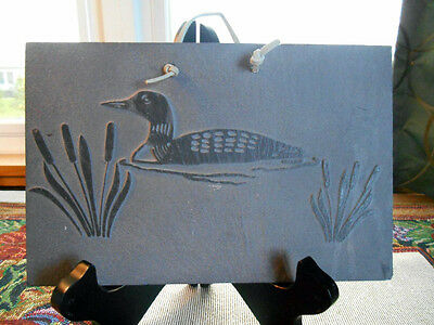 "Loon on Slate Plaque By Etched In Store of Granville, New York 9"" Long x 6"" Tall"