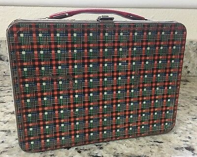 1960 Plaid Tweed Vintage Lunchbox Thermos Brand Metal Green Band