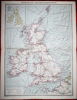 1906 Map - The British Isles: - Industries & Communications
