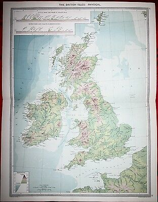 1906 Map - The British Isles: - Physical