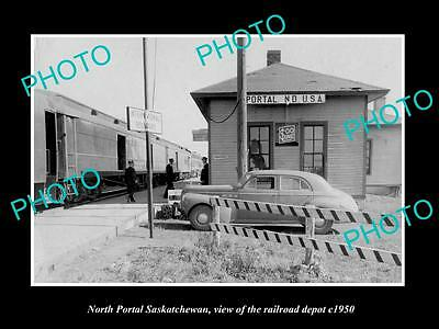 OLD LARGE HISTORIC PHOTO OF NORTH PORTAL SASKATCHEWAN, THE RAILROAD DEPOT c1950