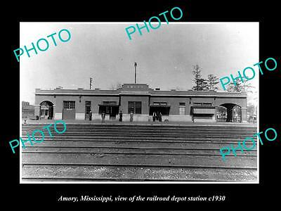 OLD LARGE HISTORIC PHOTO OF AMORY MISSISSIPPI, THE RAILROAD DEPOT STATION c1930