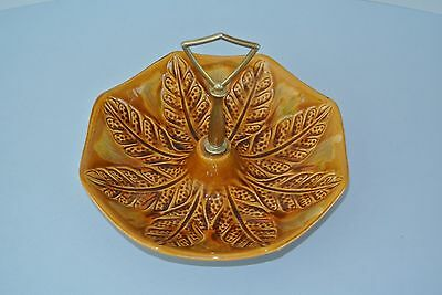 Vintage California Pottery Ccil. Orig 143 Brown Leaf Candy / Nut Dish