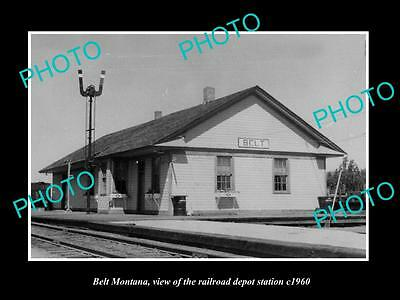 OLD LARGE HISTORIC PHOTO OF BELT MONTANA, THE RAILROAD DEPOT STATION c1960