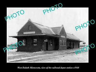 OLD LARGE HISTORIC PHOTO OF WEST DULUTH MINNESOTA, THE RAILROAD DEPOT c1940