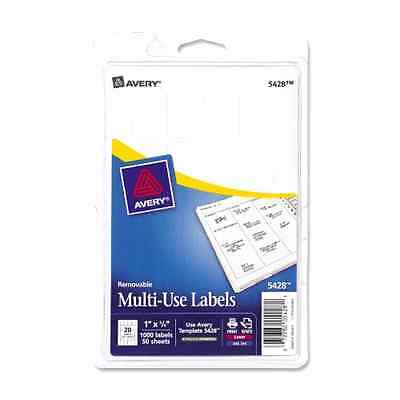 Avery Removable Multi-Use Labels 1 x 3/4 White 1000/Pack 05428 .