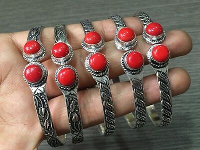 WHOLESALE LOT 5 pcs RED CORAL STONE.925 STERLING SILVER PLATED BANGLE/CUFF