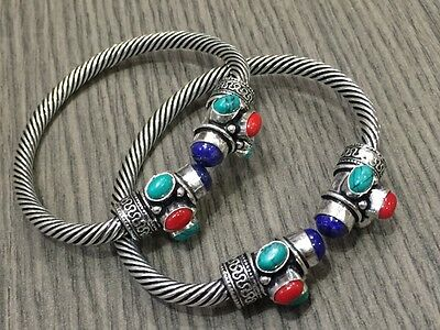 WHOLESALE LOT 2 pcs TURQUOISE & MULTI-STONE.925 STERLING SILVER PLATED BANGLE