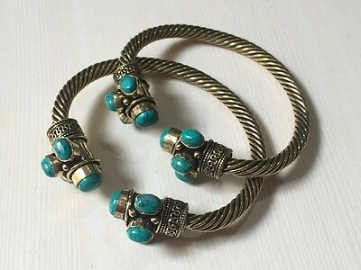 WHOLESALE LOT 2 pcs TURQUOISE STONE.925 STERLING SOLID BRASS BANGLE/CUFF