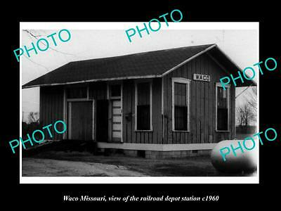 OLD LARGE HISTORIC PHOTO OF WACO MISSOURI, THE RAILROAD DEPOT STATION c1960