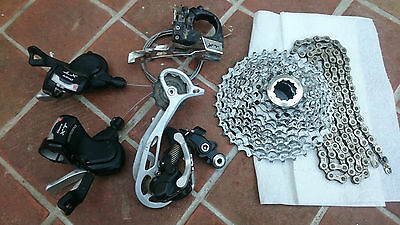 Shimano XT 9 speed gear set both shifters, mechs, cassette and chain