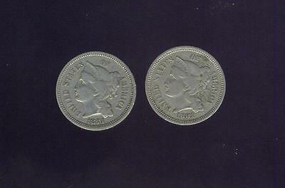 Very Fine Pair Of Post Civil War 3 Cent Nickel Coins 1874 & 1881,  Free USA Ship
