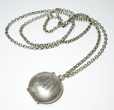 Antique Victorian Sterling Silver Puffy Locket Patch Box