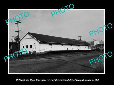 OLD LARGE HISTORIC PHOTO OF BELLINGHAM WEST VIRGINIA, RAILROAD STATION c1960 1