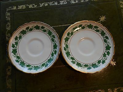 Two Dorset Tuscan Coffee Saucers /Harrods/ Green Ivy