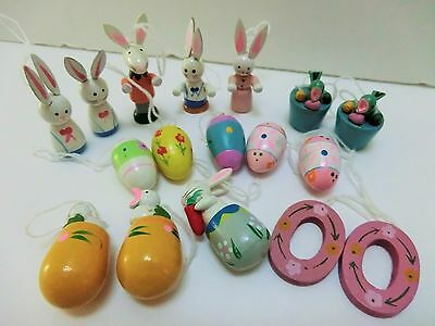 Miniature Wooden Wood Figurine Easter Tree Ornaments Eggs Bunny Decorations 17pc