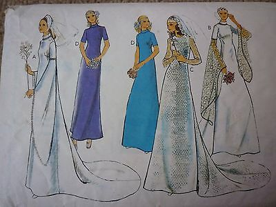 Vintage 1970's Wedding Dress With Medieval Type Sleeves & A Train Sewing Pattern