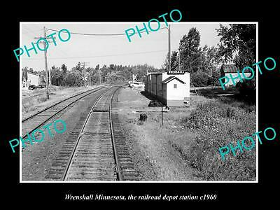OLD LARGE HISTORIC PHOTO OF WRENSHALL MINNESOTA, RAILROAD DEPOT STATION c1960