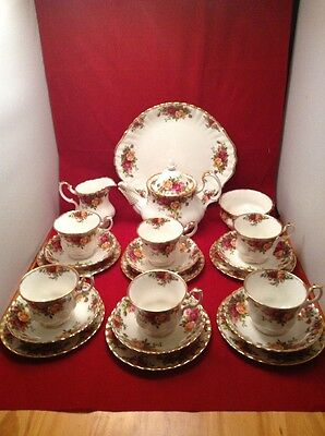 Royal Albert Old Country Roses 22 Piece Tea Set First Quality Excellent