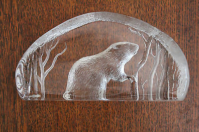 Mats Jonasson Signed Crystal Etched Paperweight