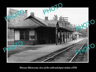 OLD LARGE HISTORIC PHOTO OF WARSAW MINNESOTA, RAILROAD DEPOT STATION c1930