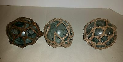 Japanese Glass Fishing Floats- Vintage Lot of 3