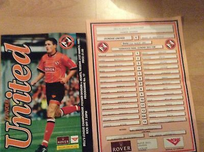 1995 Dundee United V Hearts Programme And Teamsheet