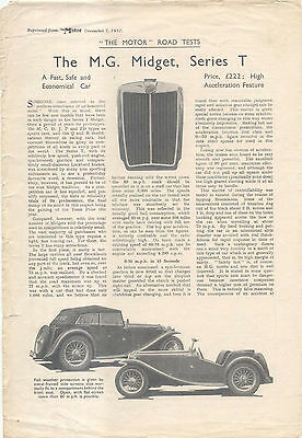 MG Midget T Series Period Road Test Reprinted from The Motor 1937