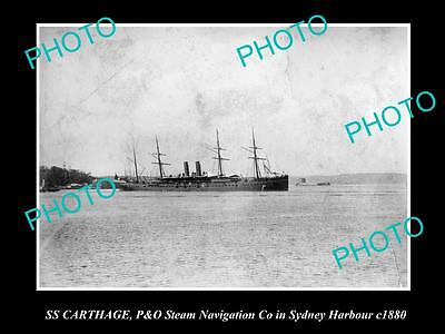 OLD LARGE HISTORIC PHOTO OF P&O STEAM NAVIGATION Co SHIP SS CARTHAGE c1880