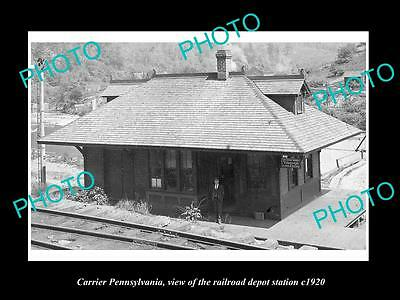 OLD LARGE HISTORIC PHOTO OF CARRIER PENNSYLVANIA, THE RAILROAD DEPOT c1920