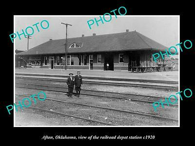 OLD LARGE HISTORIC PHOTO OF AFTON OKLAHOMA, THE RAILROAD DEPOT STATION c1920