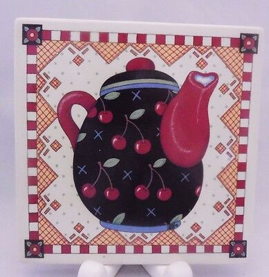Mary Engelbreit 1994 Wall Plaque Hanging Tile Teapot Cherries Santa Barbara