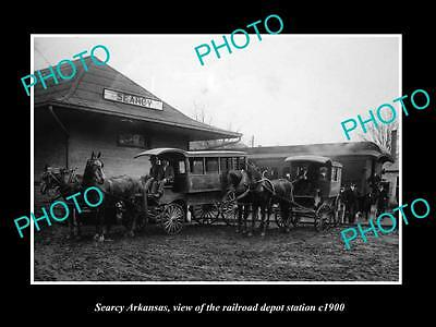 OLD LARGE HISTORIC PHOTO OF SEARCY ARIZONA, THE RAILROAD DEPOT STATION c1900